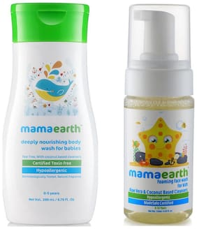 Mamaearth Nourishing Wash For Babies (200 Ml, 0-5 Yrs) And Foaming Baby Face Wash For Kids With Aloe Vera And Coconut Based Cleansers, 120 Ml