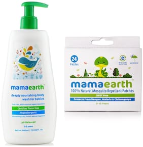 Mamaearth Nourishing Bodywash (400 ml;0-5 Yrs) & Natural Repellent Mosquito Patches for Babies;24pcs(7g) Pack of 2