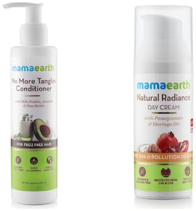 Mamaearth No More Tangles Hair Conditioner 200ml, Natural Radiance Day Cream 50ml (Pack of 2)