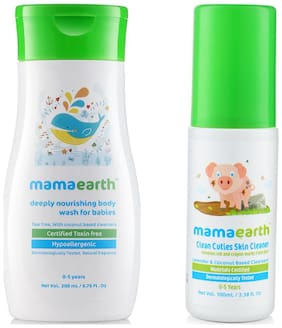 Mamaearth Nourishing Wash For Babies (200 Ml, 0-5 Yrs) And Baby Skin Cleanser 100 Ml (For Cleaning Pen, Marker, Make Up And Crayon Marks)