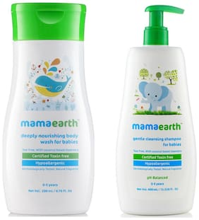 Mamaearth Nourishing Wash For Babies (200 ml, 0-5 Yrs) And Gentle Cleansing Shampoo For Babies (400 ml, 0-5 Yrs)