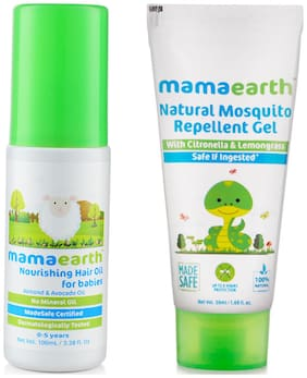 Mamaearth Nourishing Hair Oil 100ml and Natural Mosquito Repellent Gel, 50ml (Pack of 2)