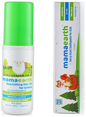 MamaEarth Nourishing hair oil for babies 100ml and Berry toothpaste 50g (Pack of 2)