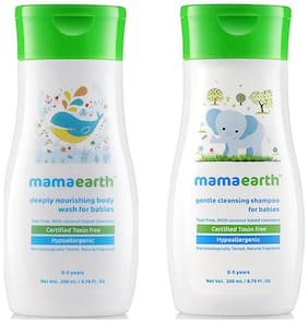 Mamaearth Nourishing Wash For Babies (200 Ml, 0-5 Yrs) And Gentle Cleansing Shampoo For Babies (200 Ml, 0-5 Yrs)
