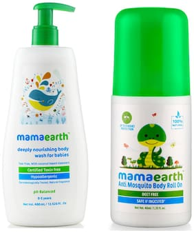 Mamaearth Nourishing Bodywash (400 ml;0-5 Yrs) & Natural Anti Mosquito Body Roll On;40 ml Pack of 2
