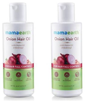 Mamaearth Onion Oil for Hair Regrowth & Hair Fall Control with Redensyl 150ml Pack of 2