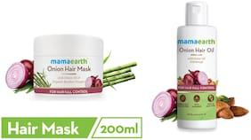Mamaearth Onion Hair Mask 200 ml And Onion Hair Oil 150 ml (Pack of 2)