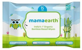 Mamaearth Organic Bamboo Based Wipes - Travel Pack 15 pcs
