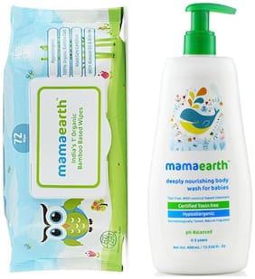 Mamaearth Organic Bamboo Based Baby Wipes 72Pcs 330G, And Nourishing Bodywash (400 Ml, 0-5 Yrs)