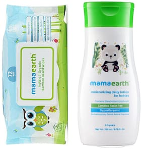 Mamaearth Organic Bamboo Based Baby Wipes 72pcs 330g, and Daily Moisturizing Baby Lotion, 200ml (Pack of 2)