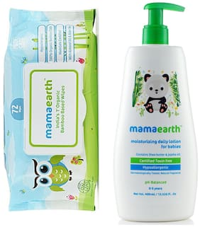 Mamaearth Organic Bamboo Based Baby Wipes 72pcs 330g and Daily Moisturizing Baby Lotion, 400ml (Pack of 2)