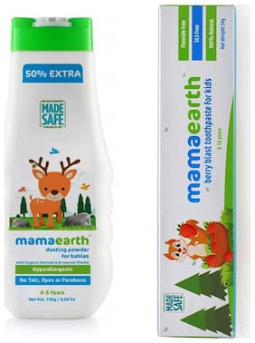 MamaEarth Organic Dusting Powder for Babies 150g and Berry toothpaste 50g (Pack of 2)