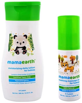Mamaearth Pack of 2, Soothing Baby Massage -100ml & Mamaearth Daily Moisturizing Lotion for Babies-200ml Age Group (0-5 Yrs)