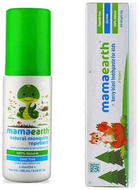 MamaEarth Repellent for babies 100ml and Berry toothpaste 50g (Pack of 2)