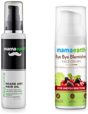 Mamaearth Restore Beard and Hair Oil for Men 100ml, Bye Bye Blemishes for pigmentation face Cream 50 ml (Pack of 2)