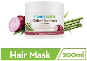 Mamaearth'S Onion Hair Mask For Dry & Frizzy Hair, Controls Hairfall And Boosts Hair Growth, With Onion & Organic Bamboo Vinegar 200Ml