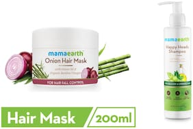 Mamaearth's Onion Hair Mask For Dry & Frizzy Hair, With Onion & Organic Bamboo Vinegar 200ml and Happy Heads Hair Shampoo 200ml with Biotin, Horse Chestnut, Bhringraj and Amla.