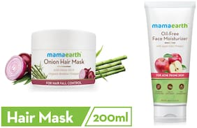 Mamaearth's Onion Hair Mask For Dry & Frizzy Hair, With Onion & Organic Bamboo Vinegar 200ml and Oil Free Moisturizer For Face With Apple Cider Vinegar For Acne Prone Skin, 80 ml