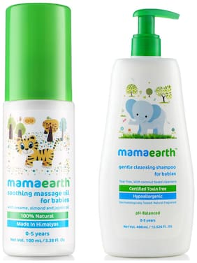Mamaearth Soothing Massage Oil for Babies (100 ml;0-5 Yrs) & Gentle Cleansing Shampoo for babies (400 ml;0-5 Yrs) Pack of 2