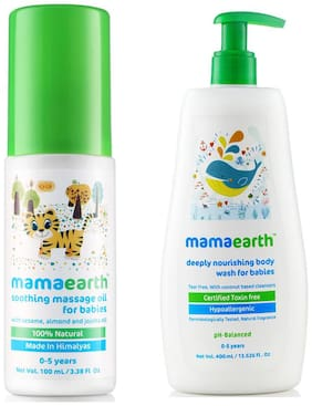 Mamaearth Soothing Massage Oil For Babies (100 Ml, 0-5 Yrs) And Nourishing Bodywash (400 Ml, 0-5 Yrs)