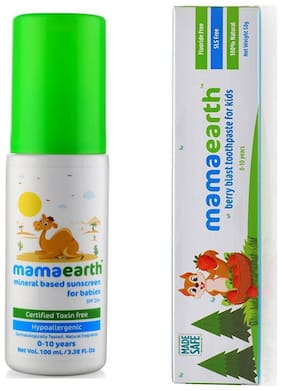MamaEarth Suncreen 100ml and Berry toothpaste 50g (Pack of 2)
