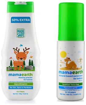 Mamaearth Talc Free Organic Dusting Powder For Babies 150G & Mineral Based Sunscreen (100 ml) (Pack of 2)
