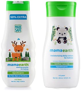 Mamaearth Talc Free Organic Dusting Powder with Arrowroot & Oat Starch, 150g and Daily Moisturizing Baby Lotion, 200ml (Pack of 2)