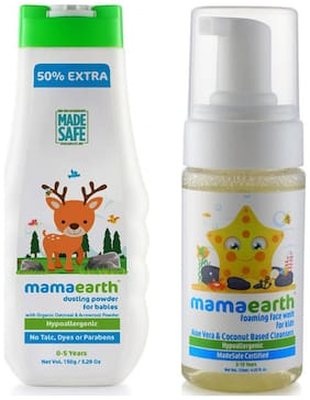 Mamaearth Talc Free Organic Dusting Powder For Babies With Arrowroot & Oat Starch 150G, And Foaming Baby Face Wash For Kids With Aloe Vera And Coconut Based Cleansers 120 Ml