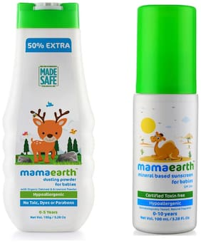 Mamaearth Talc Free Organic Dusting Powder with Arrowroot & Oat Starch, 150g and Mineral Based Sunscreen (100 ml) (Pack of 2)