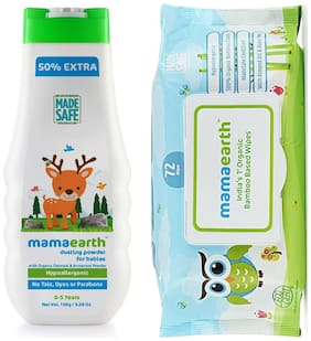 Mamaearth Talc Free Organic Dusting Powder with Arrowroot & Oat Starch, 150g and Organic Bamboo Based Baby Wipes 72 pcs 330g (Pack of 2)