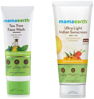 Mamaearth Tea Facewash 100 ml, Sunscreen 80 ml (Pack of 2)