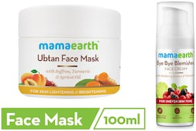 Mamaearth Ubtan Face Mask 100 ml, Bye Bye Face Cream 50 ml (Pack of 2)