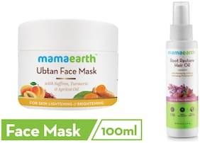 Mamaearth Ubtan Face Mask 100 ml, Root Hair Oil 150 ml (Pack of 2)