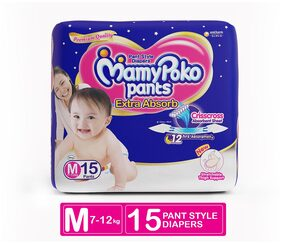MamyPoko Pants Extra Absorb Diaper - Medium Size, Pack of 15 Diapers (M-15)