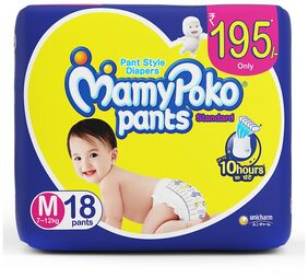 MamyPoko Pants Standard diaper - Medium Size , Pack of 18 diapers (M-18)
