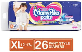 MamyPoko Pants Standard Diaper, Extra Large Size, Pack of 26 Diapers (XL-26 N)