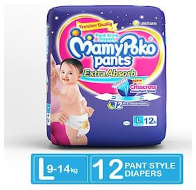 MamyPoko Pants Extra Absorb Diaper - Large Size, Pack of 12 Diapers (L-12)