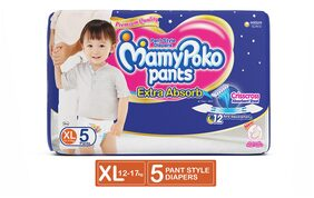 MamyPoko Pants Extra Absorb Diaper - Extra Large Size, Pack of 5 Diapers (XL-5)