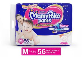 MamyPoko Pants Extra Absorb Diaper - Medium Size, Pack of 56 Diapers (M-56)