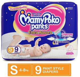 MamyPoko Pants Extra Absorb Diaper - Small Size, Pack of 9 Diapers (S-9)