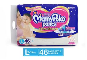 MamyPoko Pants Extra Absorb Diaper - Large Size, Pack of 46 Diapers (L-46)
