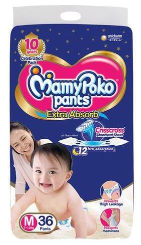 Mamypoko Pants - Extra Absorb Diaper, Medium Size 36 pcs