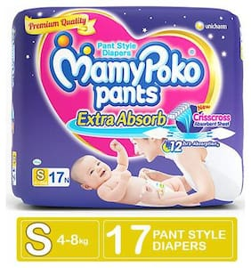 Mamypoko Pants Extra Absorb Diaper - Small Size, 4-8 kg 17 nos