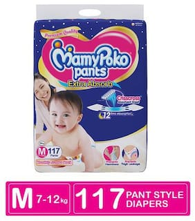 MamyPoko Pants Extra Absorb Diaper Monthly Jumbo Pack - Medium 117 Pcs