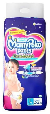 Mamypoko Pants Style Diapers - Large  9-14 Kg 32 Pcs