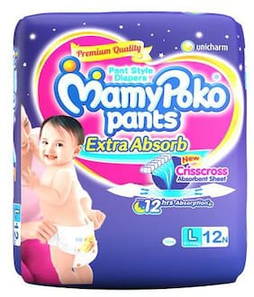 MamyPoko Pants Style Diapers - Large, 9-14 Kg 12 pcs