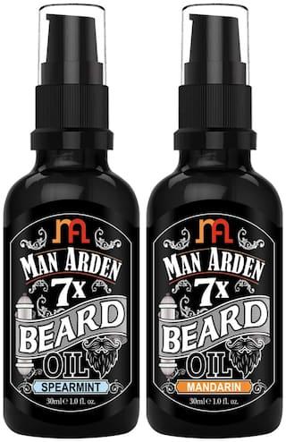 Man Arden 7X Beard Oil Grooming Combo Beard Oil Spearmint,Beard Oil Mandarin 30ml Each (Pack Of 2)