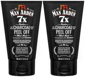 Man Arden 7X Activated Charcoal Peel Off Mask - No Parabens/Sulphate/Silcones/100ml (Pack Of 2 )