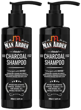 Man Arden Activated Charcoal Shampoo With Argan Oil For Men 200 ml (Pack Of 2 )