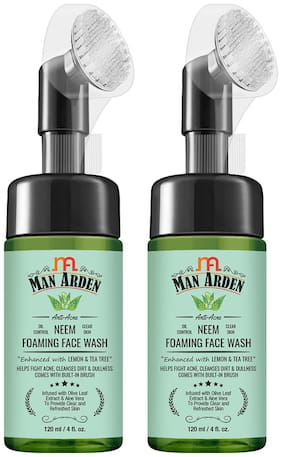 Man Arden Anti-Acne Neem Foaming Face Wash with Built-in Brush Infused With Olive Leaf Extract And Aloe Vera, 120 ml (Pack Of 2)